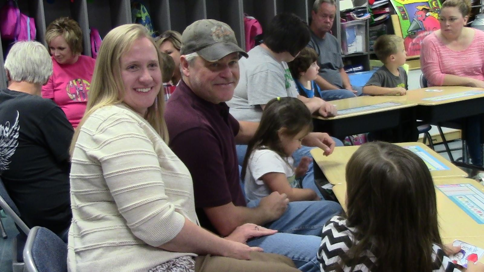 Grandparents visit their grandchildren in Ms. Howes' Kindergarten Class at South Magoffin Elementary