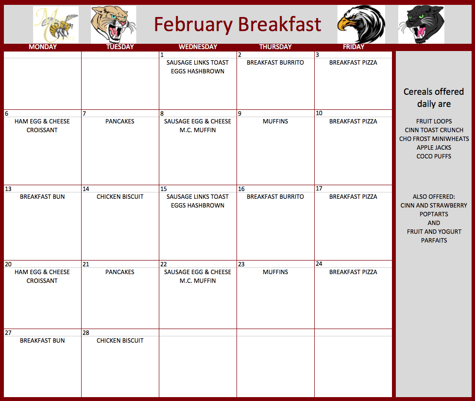 February Lunch Menu