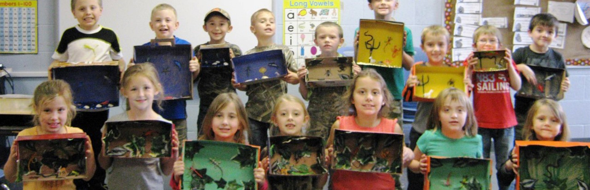 Students in  Mrs. Chapman's first grade class at North Magoffin Elementary created dioramas depicting various animal habitats.