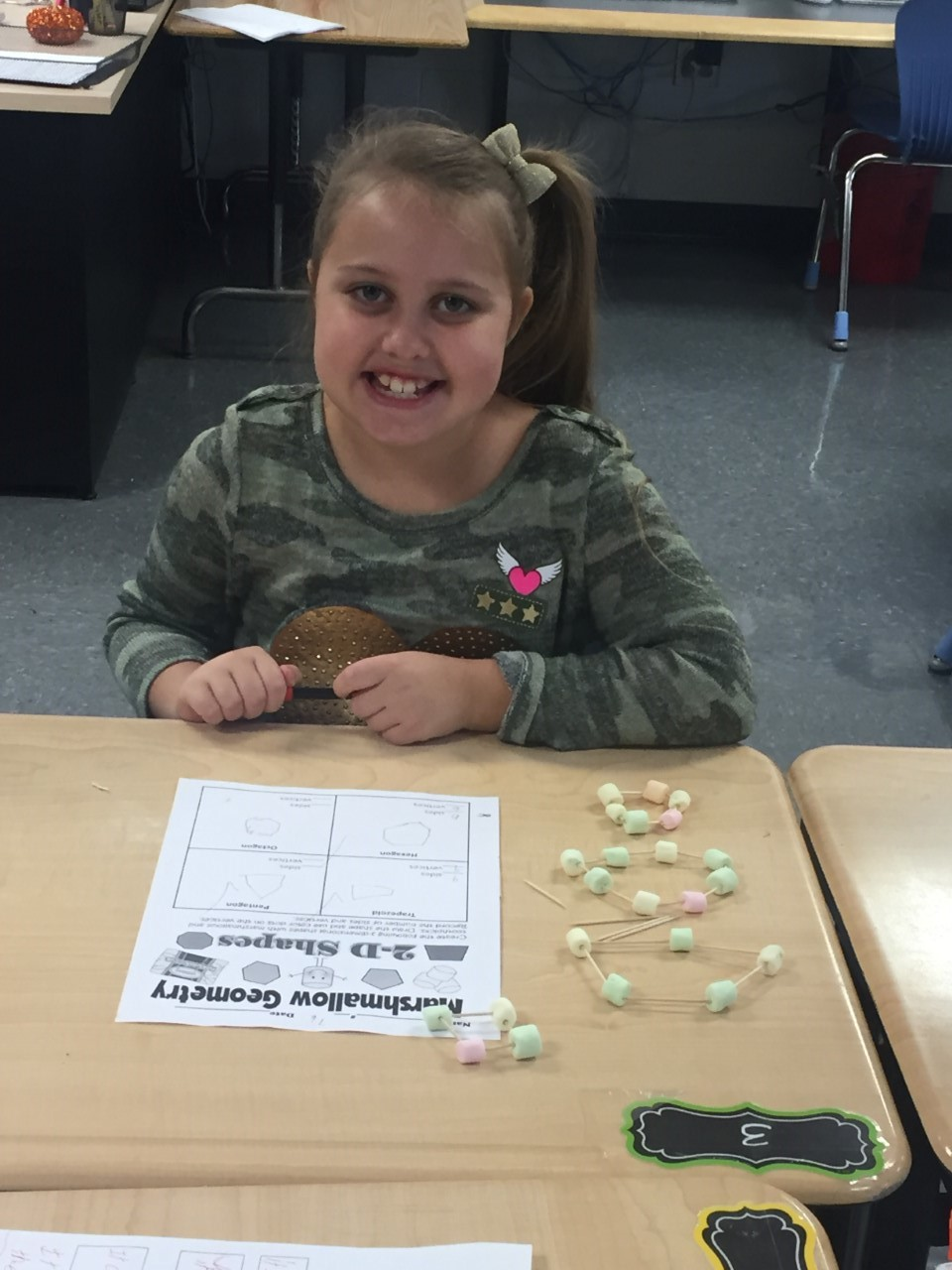 Miller's third grade at North Magoffin Elementary created 2-deminisional geometric shapes using marshmallows and toothpicks