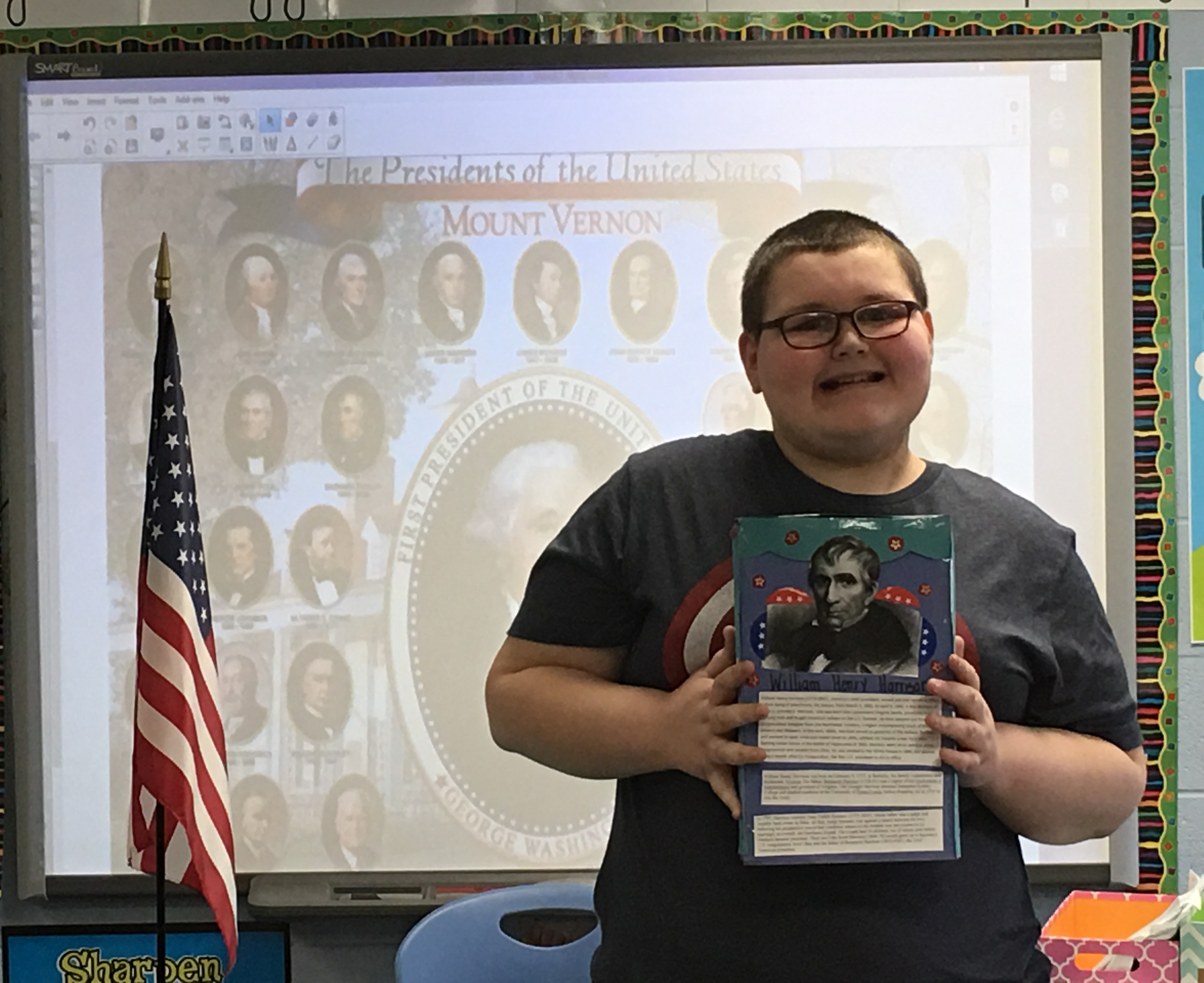 Nme students honor us presidents with cereal box project for Cereal box project for school